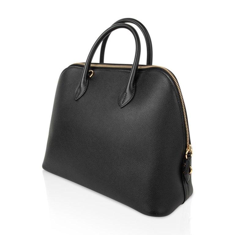 Hermes Bolide 1923 Bag Black Taurillon Novillo Leather Gold Hardware For Sale 1