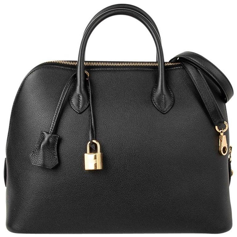 Hermes Bolide 1923 Bag Black Taurillon Novillo Leather Gold Hardware For Sale