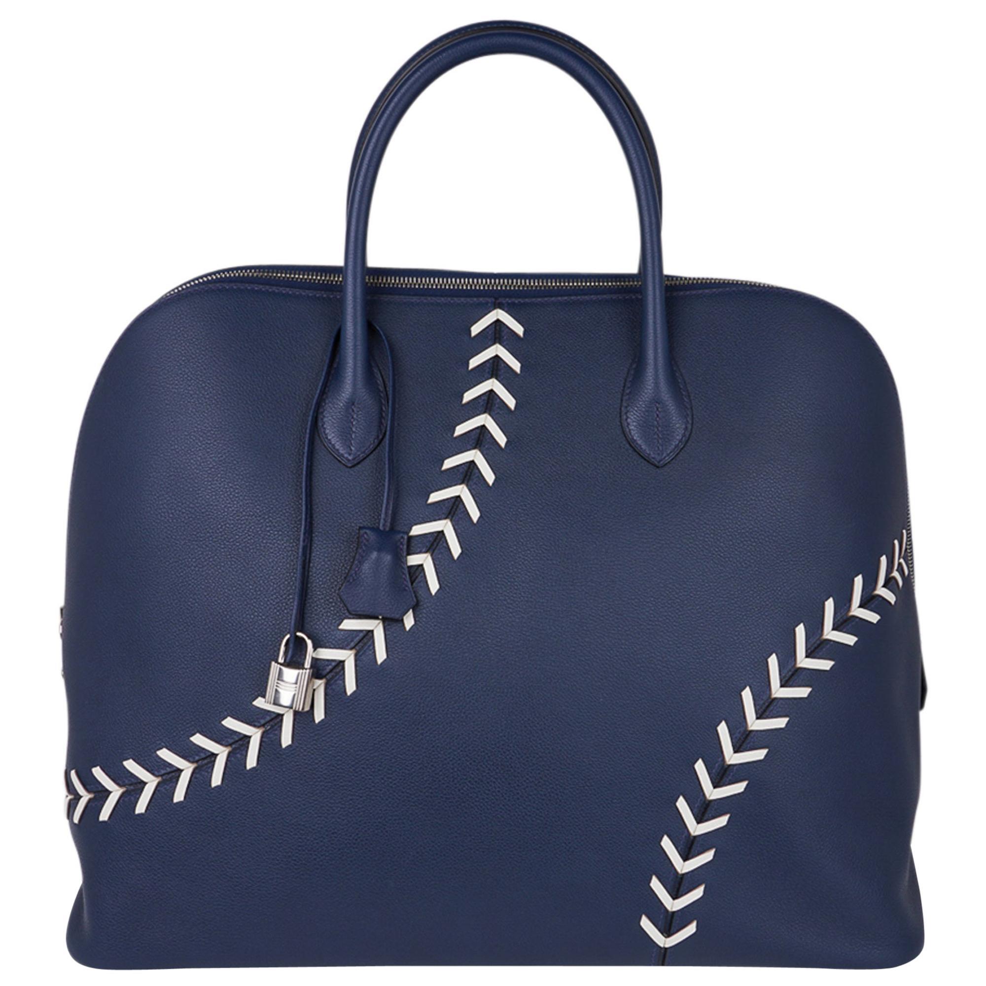 Hermes Bolide 1923 Baseball 45 Bag Bleu de Malte Limited Edition Weekender New
