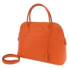 HERMES Bolide 31 Orange 2way Bag Shoulder Bag Handbag Leather Gold