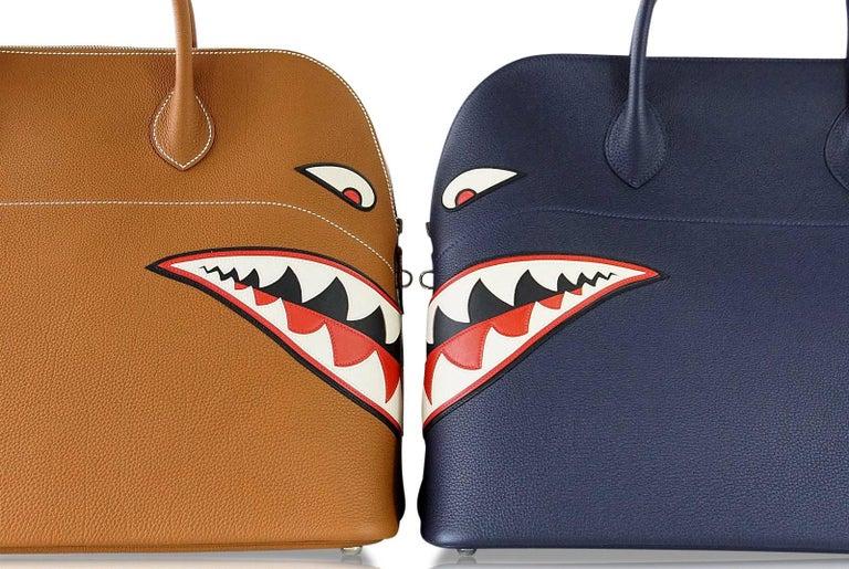 Hermes Bolide Runway Shark Monster Bag Unisex Blue Indigo Limited Edition For Sale 8