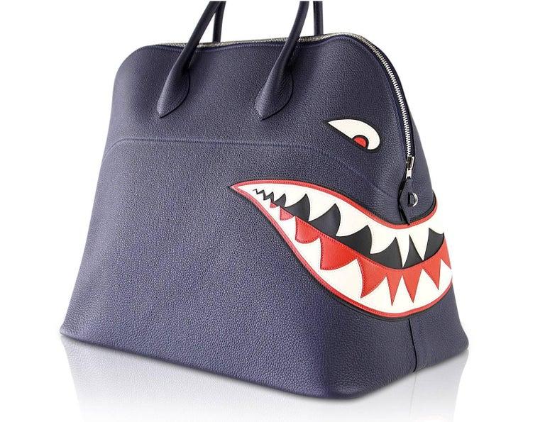 Hermes Bolide Runway Shark Monster Bag Unisex Blue Indigo Limited Edition For Sale 3