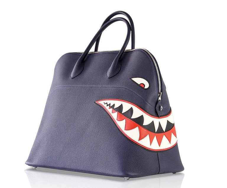 Women's or Men's Hermes Bolide Runway Shark Monster Bag Unisex Blue Indigo Limited Edition For Sale