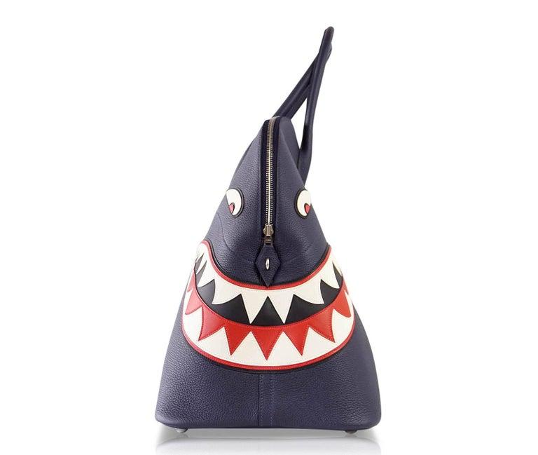 Hermes Bolide Runway Shark Monster Bag Unisex Blue Indigo Limited Edition For Sale 2