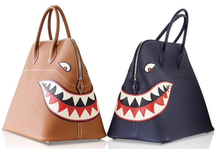 Hermes Bolide Runway Shark Monster Bag Unisex Blue Indigo Limited Edition For Sale 9