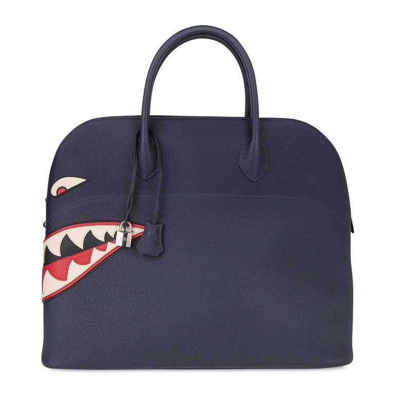 Hermes Bolide Runway Shark Monster Bag Unisex Blue Indigo Limited Edition In New Condition For Sale In Miami, FL