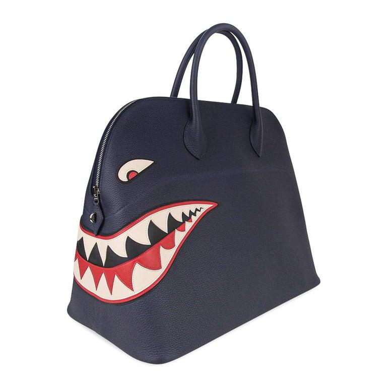 Hermes Bolide Runway Shark Monster Bag Unisex Blue Indigo Limited Edition For Sale 1