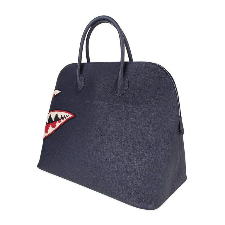 Hermes Bolide Runway Shark Monster Bag Unisex Blue Indigo Limited Edition For Sale 5