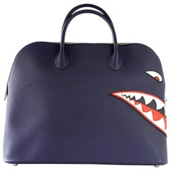 Hermes Bolide Runway Shark Monster Bag Unisex Blue Indigo Limited Edition