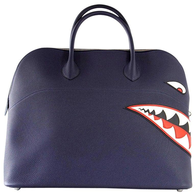 Hermes Bolide Runway Shark Monster Bag Unisex Blue Indigo Limited Edition For Sale