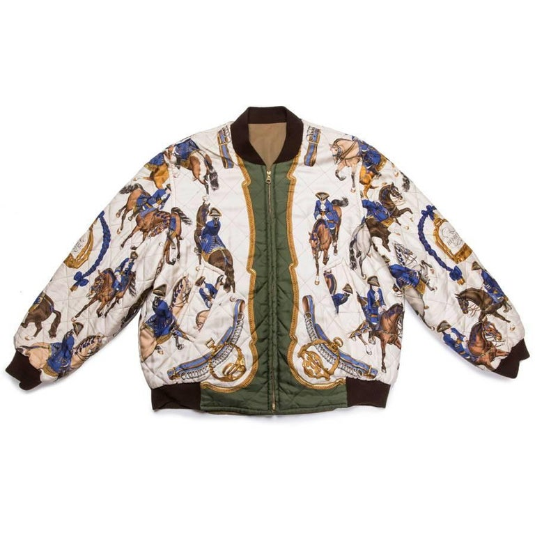 HERMES Bomber Reversible Jacket  'Reprise' in Khaki Silk and Cotton 48FR