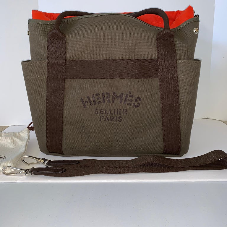 Black Hermès Boot and Helmut Great Travel Khaki Canvas Tote