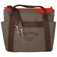 Hermès Boot and Helmut Great Travel Khaki Canvas Tote
