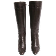 HERMES Boots in Brown Lamb Leather Size 37