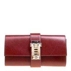 Hermes Bordeaux Box Calf Leather Medor 23 Clutch