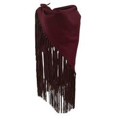 Hermès bordeaux brown fringes scarf