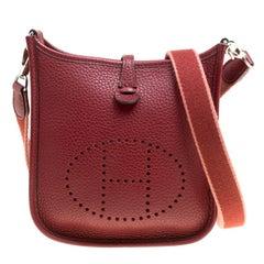 Hermes Bordeaux Clemence Leather Evelyne TPM Bag