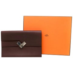 Hermes Bordeaux Evercolor Calfskin Fortunio Clutch