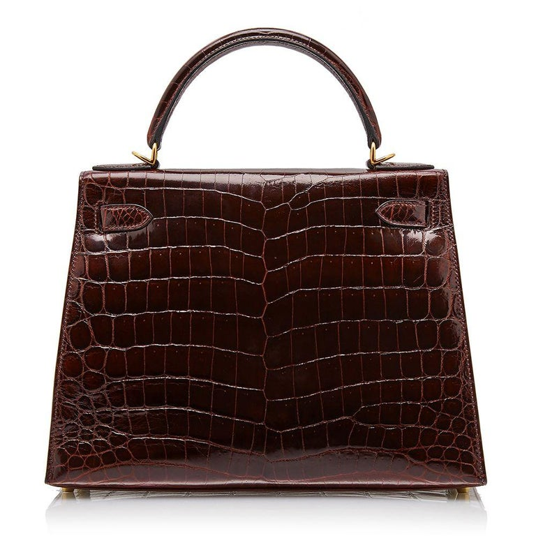 Black Hermès Bordeaux Niloticus Crocodile 28cm Kelly bag For Sale