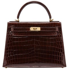 Hermès Bordeaux Niloticus Crocodile 28cm Kelly bag