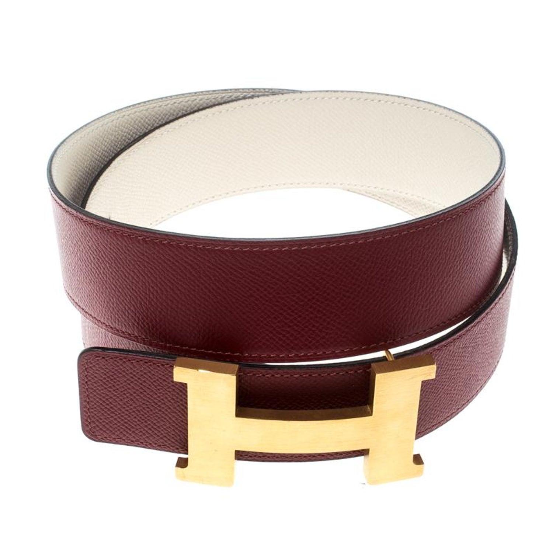 583cb8f5b40c Hermes Bordeaux Off White Epsom Leather Reversible Constance Belt 85cm at  1stdibs