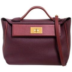 Hermes Bordeaux/Rouge H Togo and Sombrero Gold Hardware 24/24 29 Bag