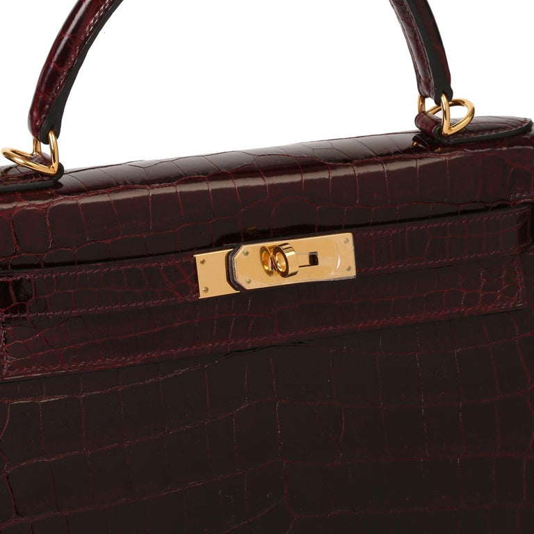 Hermès Bordeaux Shiny Niloticus Crocodile Leather Kelly 28cm Sellier For Sale 5