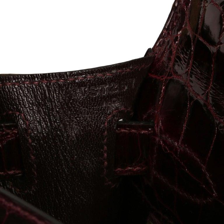 Black Hermès Bordeaux Shiny Niloticus Crocodile Leather Kelly 28cm Sellier For Sale
