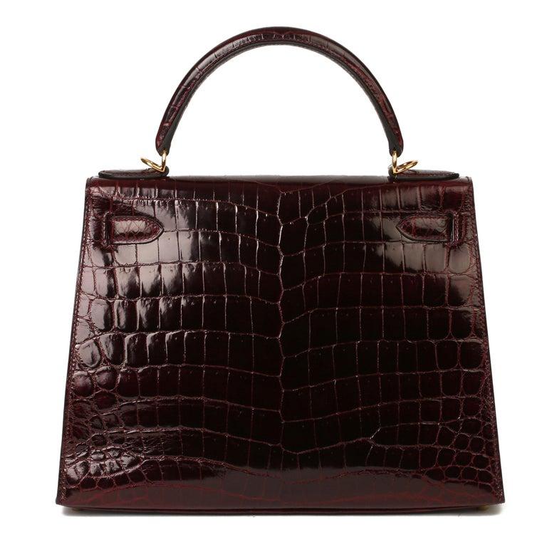 Hermès Bordeaux Shiny Niloticus Crocodile Leather Kelly 28cm Sellier For Sale 3