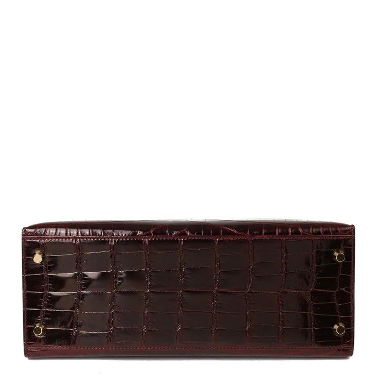 Hermès Bordeaux Shiny Niloticus Crocodile Leather Kelly 28cm Sellier For Sale 4