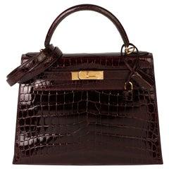 Hermès Bordeaux Shiny Niloticus Crocodile Leather Kelly 28cm Sellier