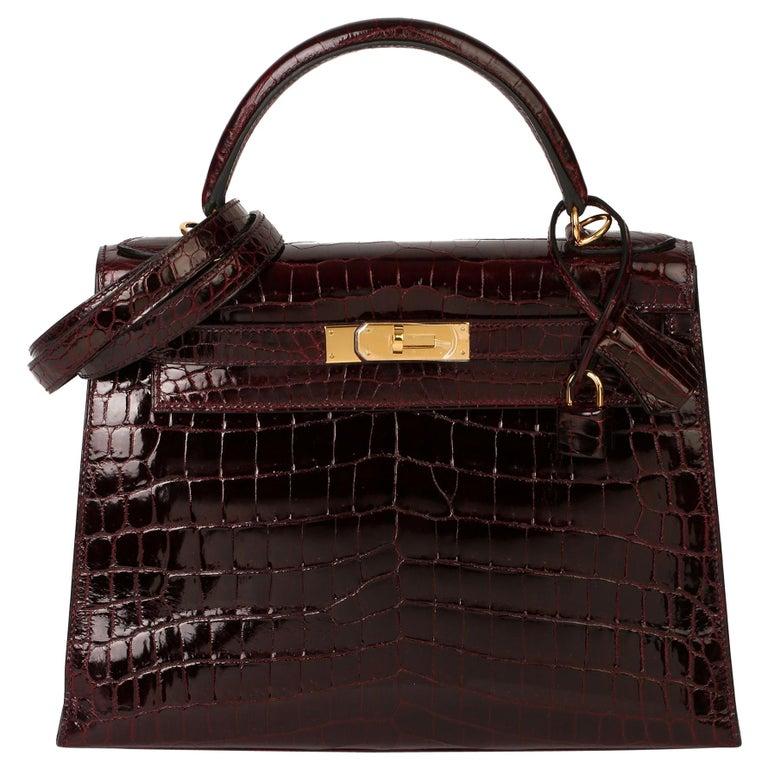 Hermès Bordeaux Shiny Niloticus Crocodile Leather Kelly 28cm Sellier For Sale