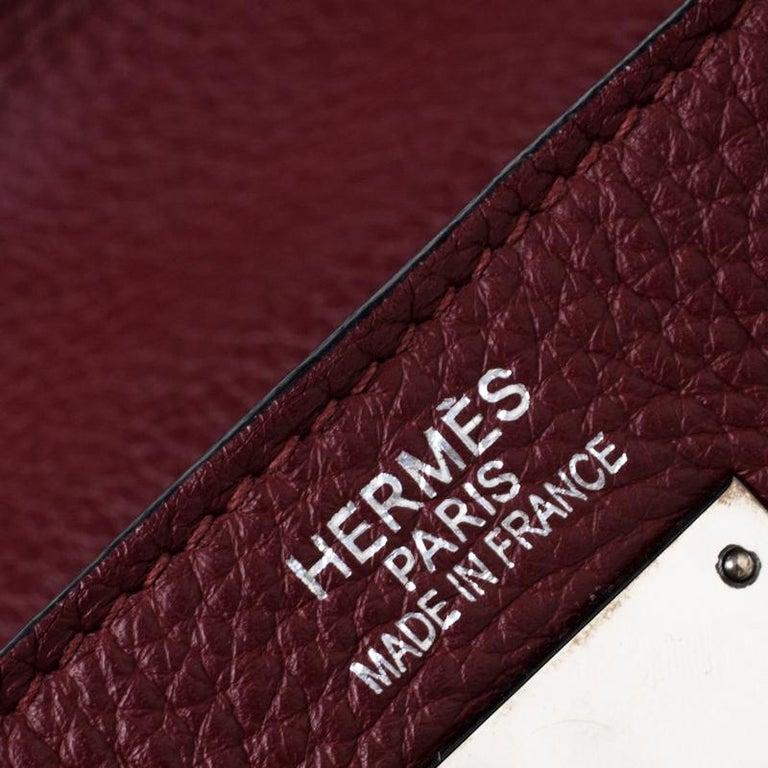 Hermes Bordeaux Togo Leather Palladium Hardware Kelly Retourne 35 Bag For Sale 5
