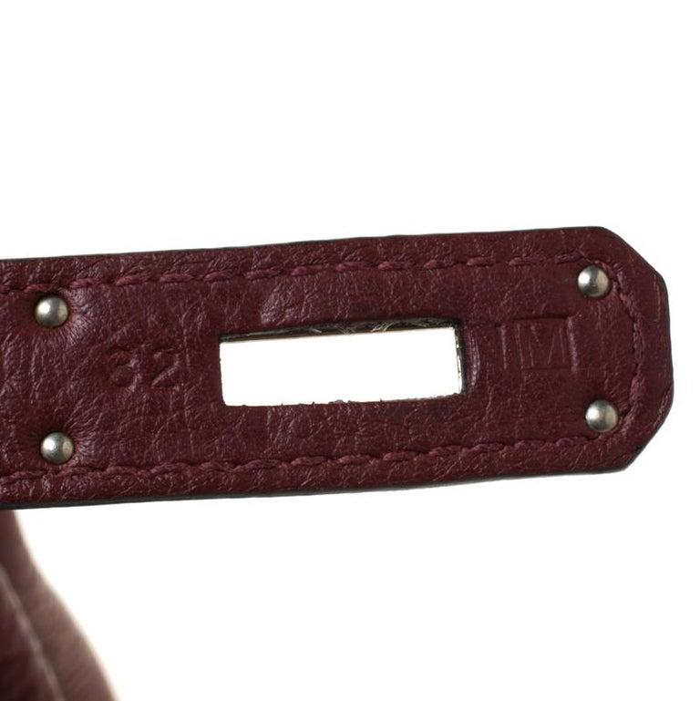 Hermes Bordeaux Togo Leather Palladium Hardware Kelly Retourne 35 Bag For Sale 6