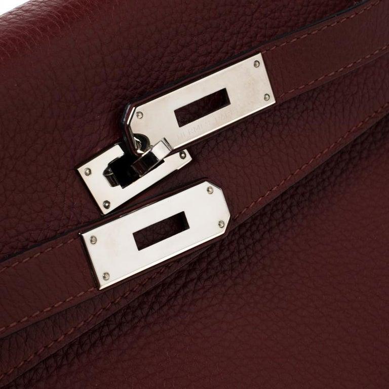 Hermes Bordeaux Togo Leather Palladium Hardware Kelly Retourne 35 Bag For Sale 7
