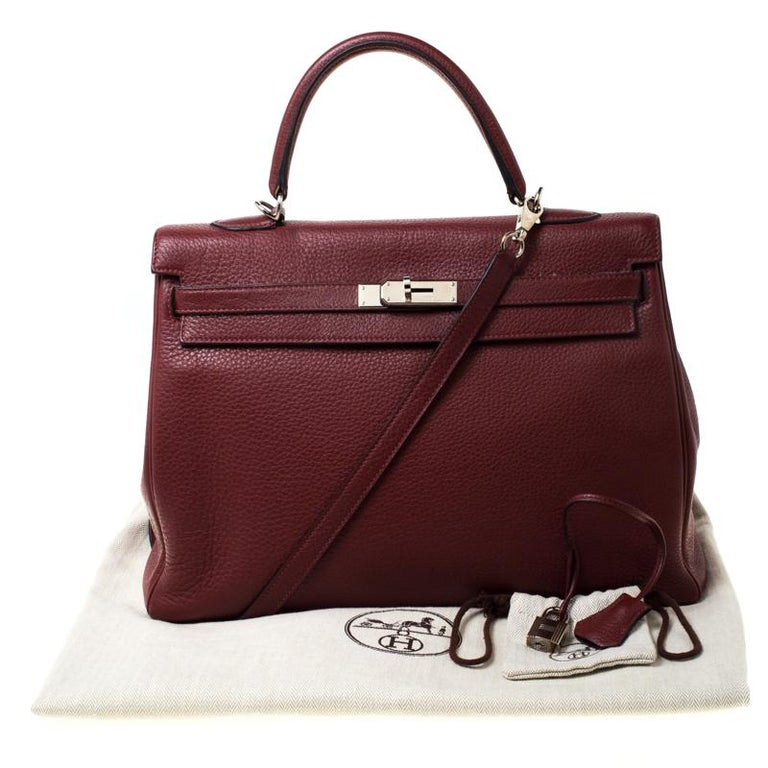 Hermes Bordeaux Togo Leather Palladium Hardware Kelly Retourne 35 Bag For Sale 8