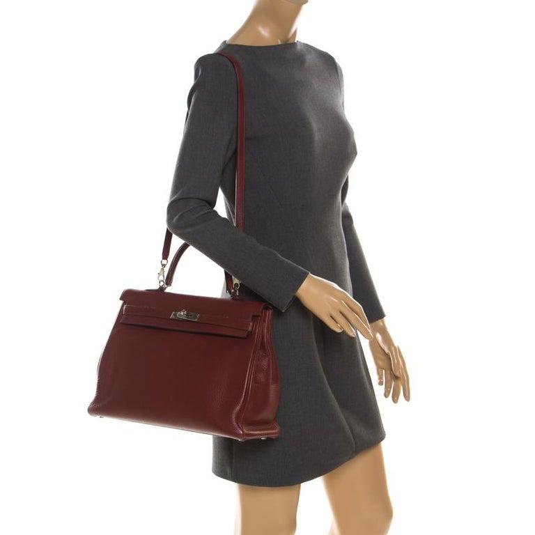 Brown Hermes Bordeaux Togo Leather Palladium Hardware Kelly Retourne 35 Bag For Sale