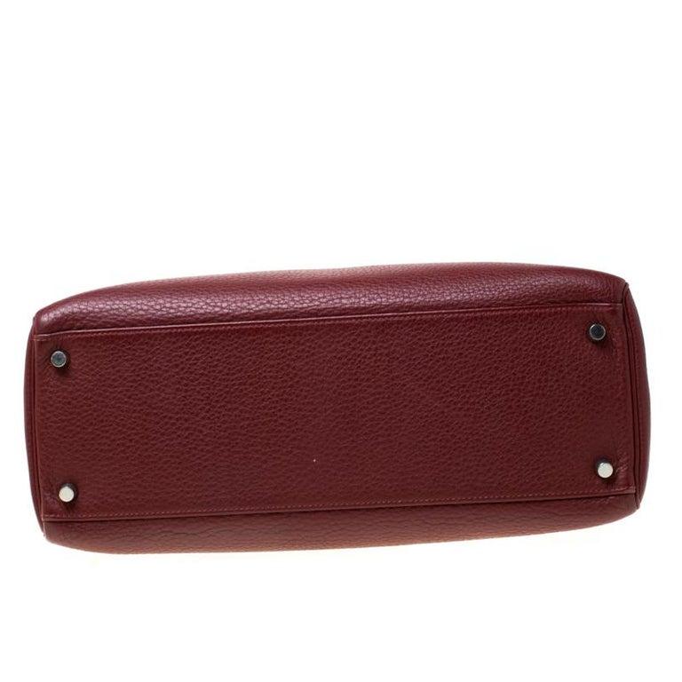 Women's Hermes Bordeaux Togo Leather Palladium Hardware Kelly Retourne 35 Bag For Sale