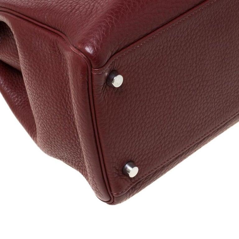 Hermes Bordeaux Togo Leather Palladium Hardware Kelly Retourne 35 Bag For Sale 1