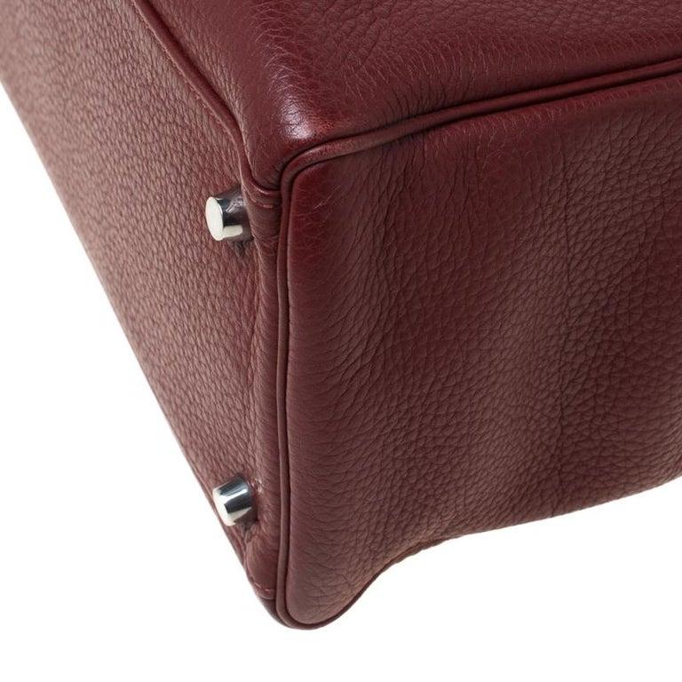 Hermes Bordeaux Togo Leather Palladium Hardware Kelly Retourne 35 Bag For Sale 2