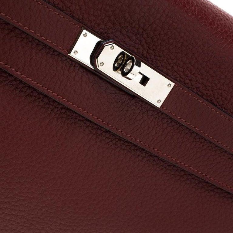 Hermes Bordeaux Togo Leather Palladium Hardware Kelly Retourne 35 Bag For Sale 3