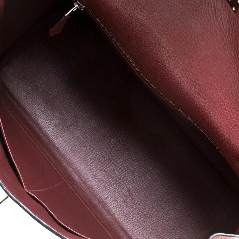 Hermes Bordeaux Togo Leather Palladium Hardware Kelly Retourne 35 Bag For Sale 4