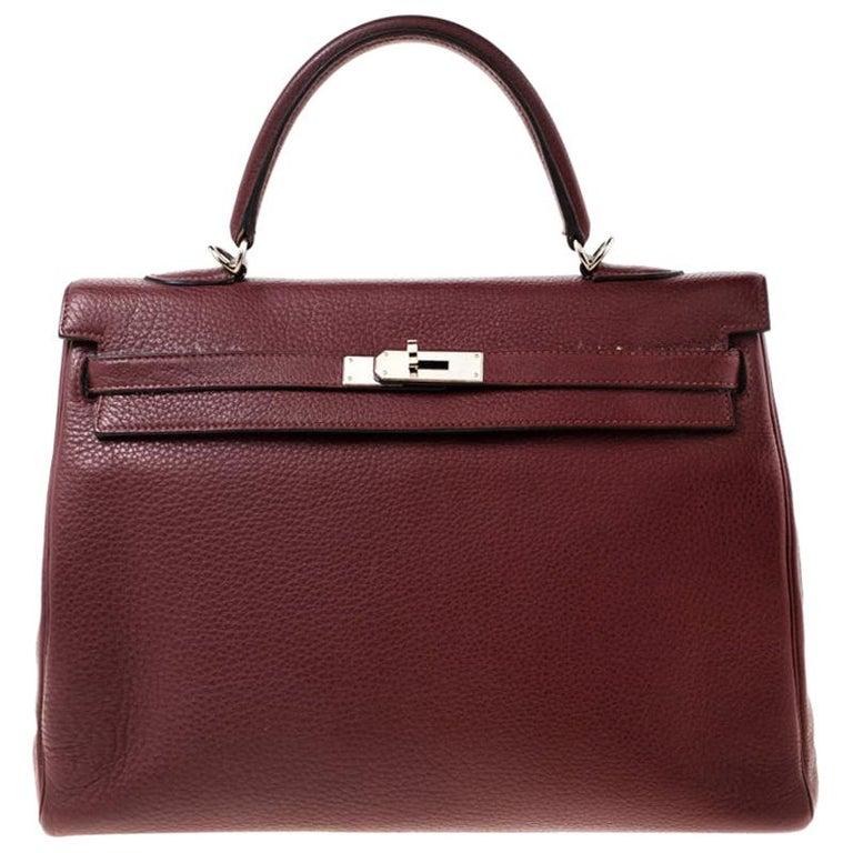 Hermes Bordeaux Togo Leather Palladium Hardware Kelly Retourne 35 Bag For Sale
