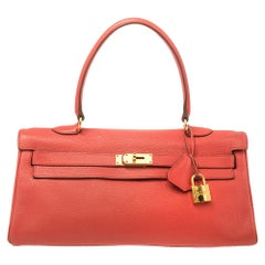 Hermes Bougainvillea Clemence Leather Gold Hardware Shoulder Kelly 42 Bag