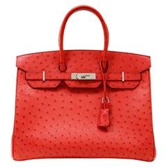 Hermès Bougainvillea Ostrich 35cm Birkin Bag with Palladium