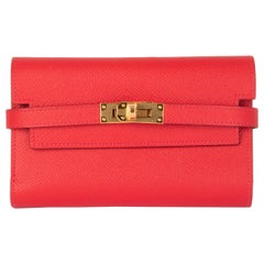 HERMES Bougainvillea pink Epsom leather KELLY DEPLIANT MEDIUM Wallet