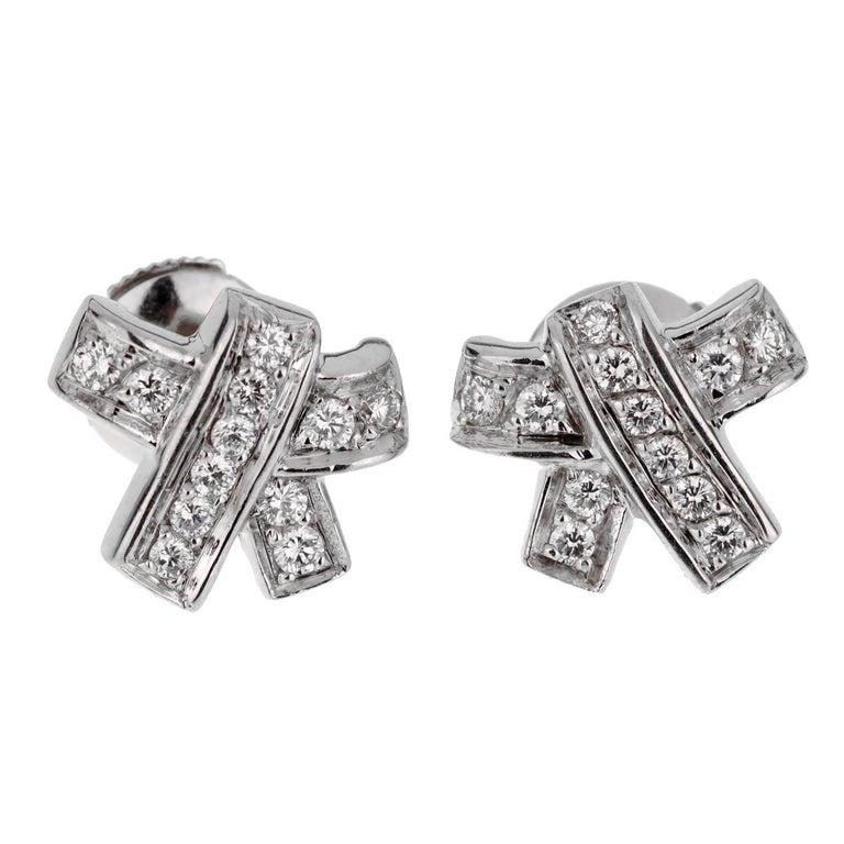 Women's Hermes Bow Diamond White Gold Earrings For Sale