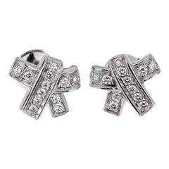 Hermes Bow Diamond White Gold Earrings