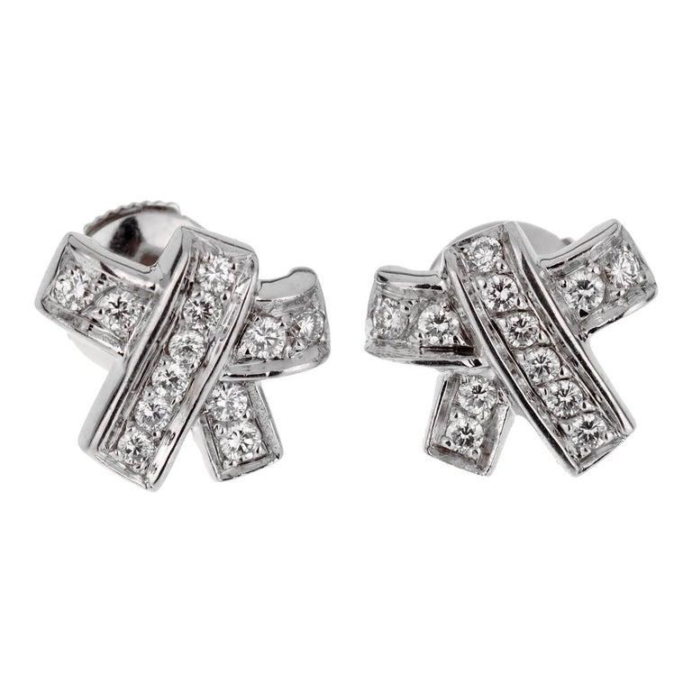 Hermes Bow Diamond White Gold Earrings For Sale