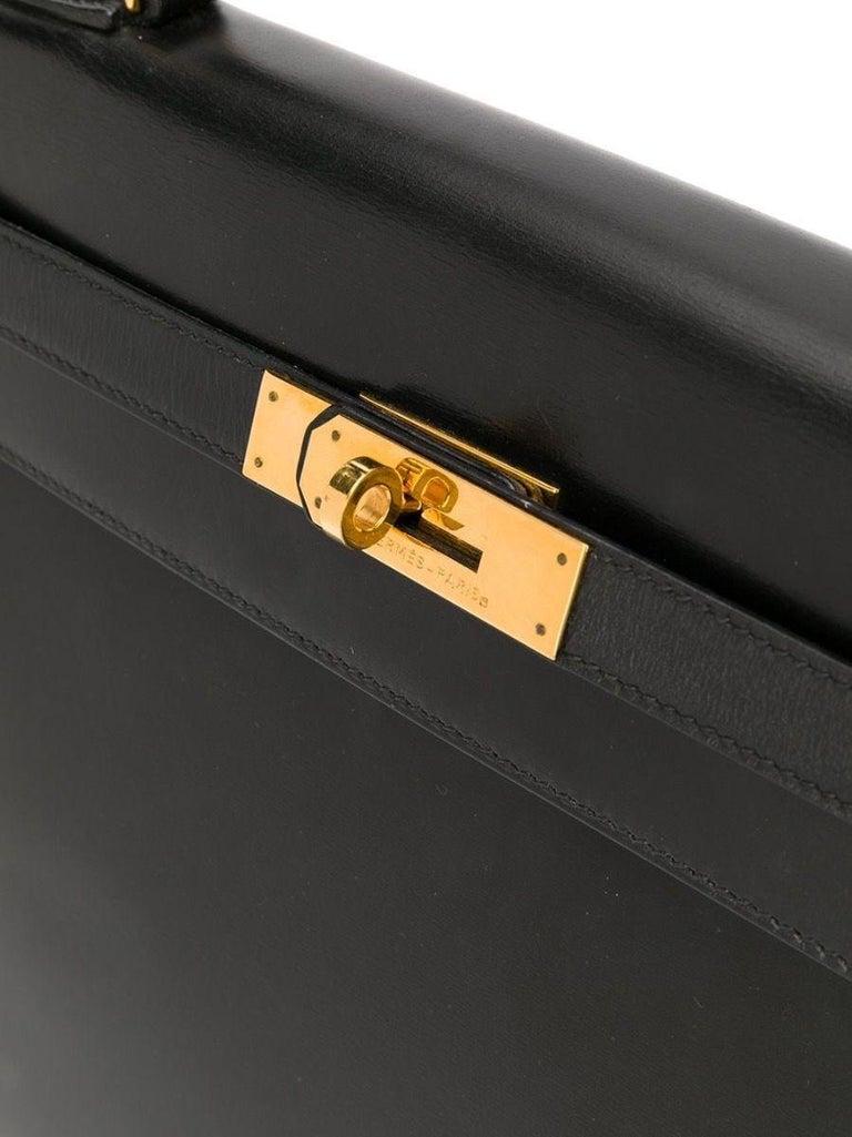 Black Hermès Box Leather 32cm Kelly Sellier Bag For Sale